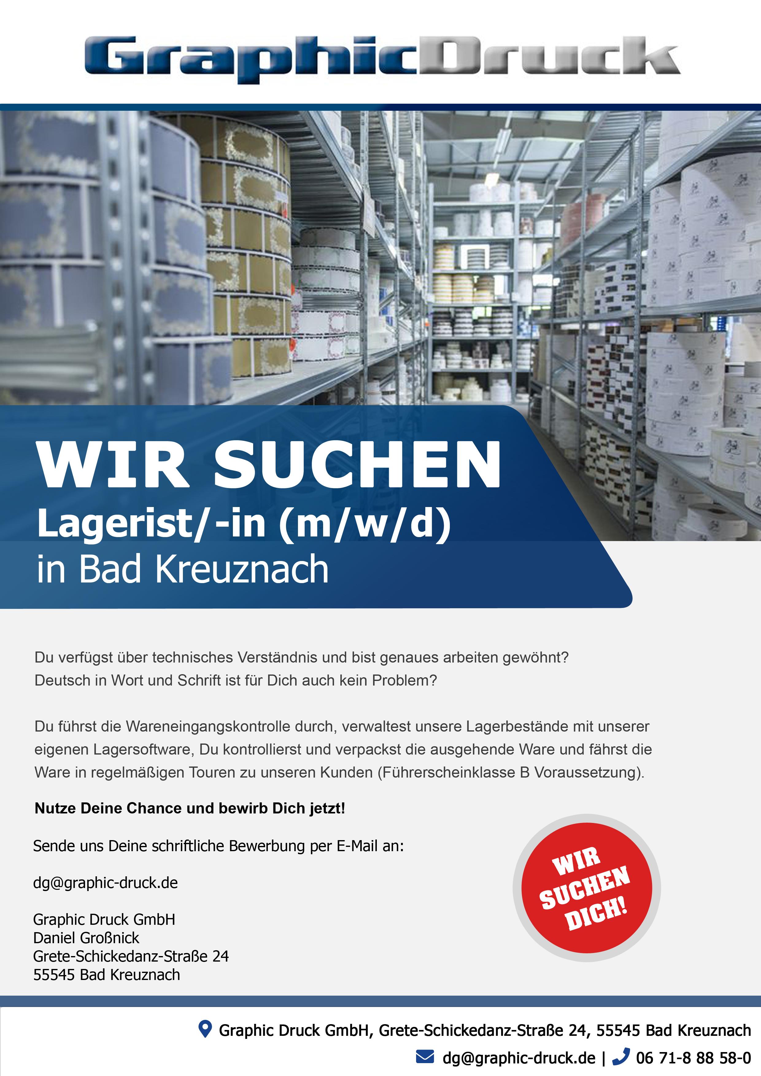 Wir suchen dich! - Lagerist/ -in ( m/w/d ) in Bad Kreuznach