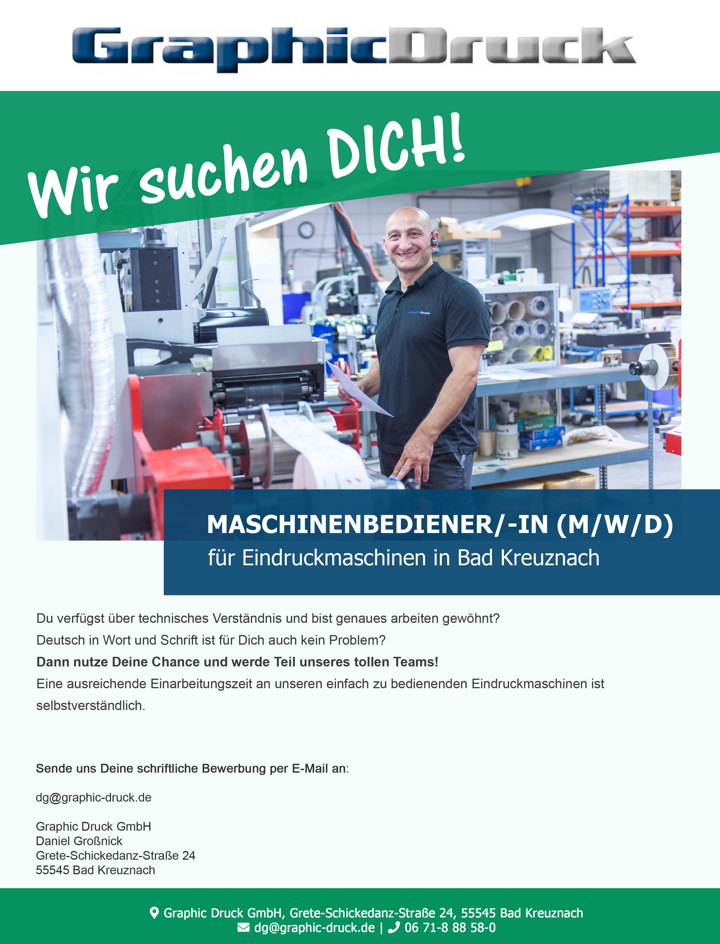 Wir suchen dich! - Maschinenbediener/ - in ( m/w/d )