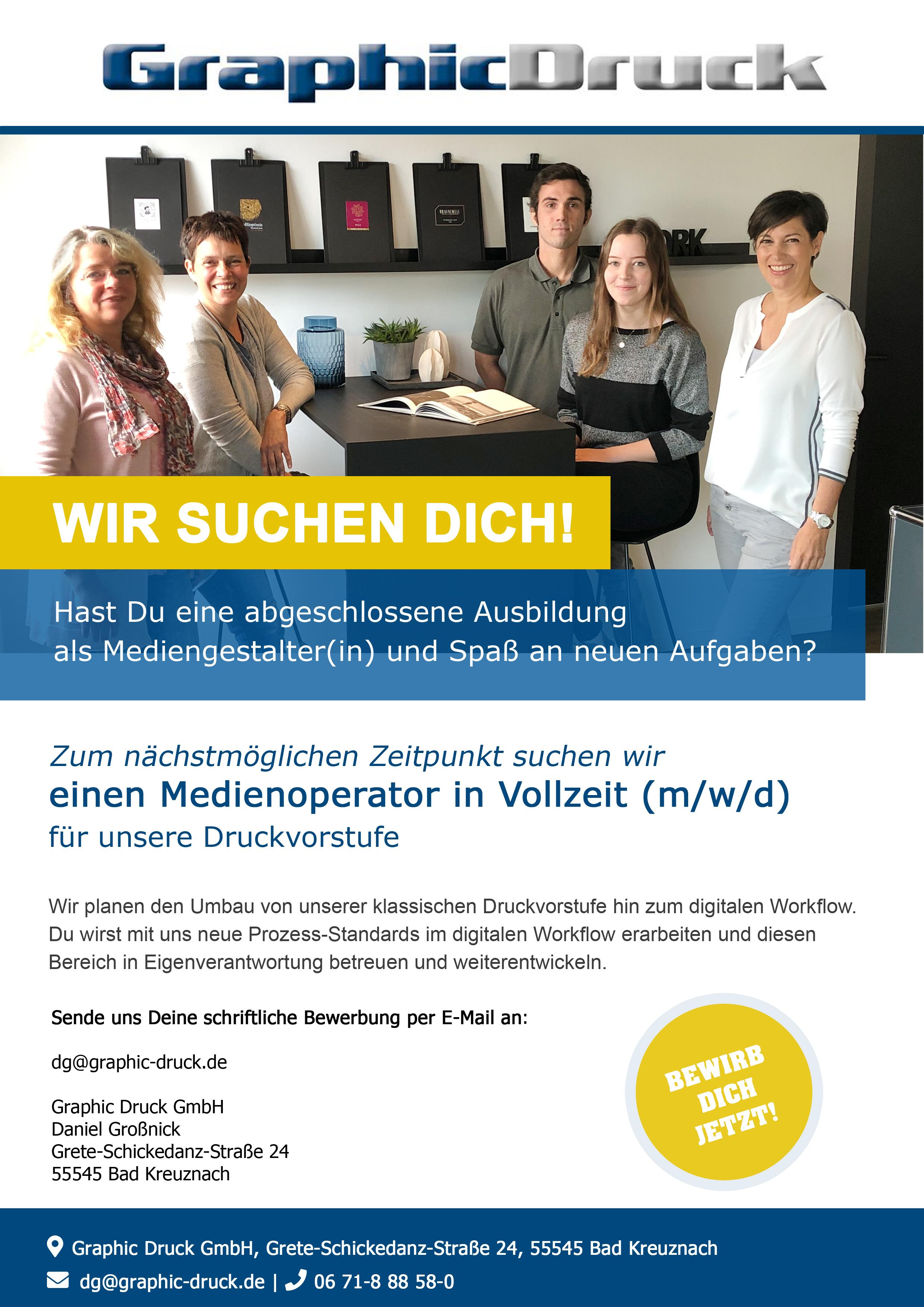 Wir suchen dich! - einen Medienoperator in Vollzeit (m/w/d)